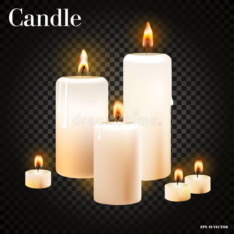 Sistema realista de velas ardientes en el fondo transparente, ejemplo realista del vector stock de ilustración