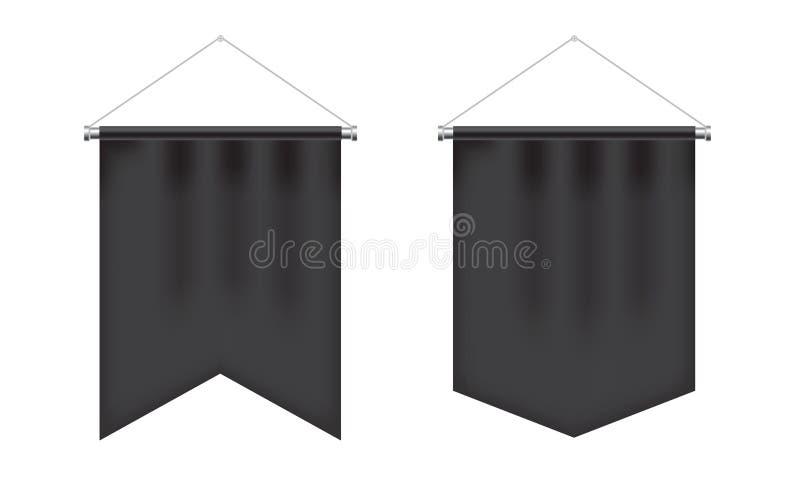 Sistema realista del banderín del negro del espacio en blanco ilustración del vector