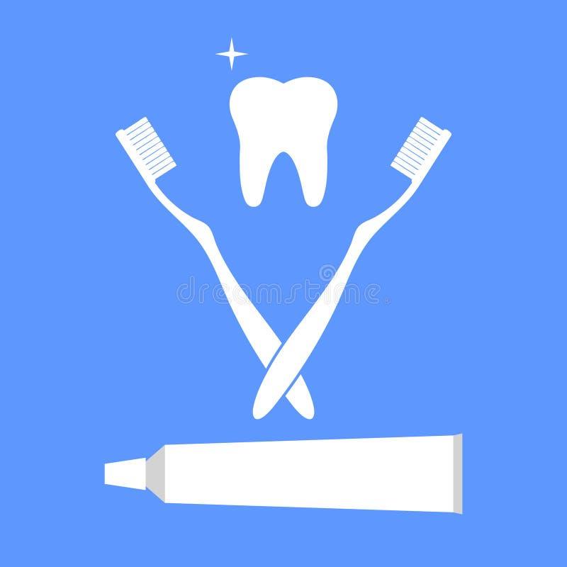 Sistema realista del cepillo de dientes y de la goma aislado con un diente en un fondo azul stock de ilustración