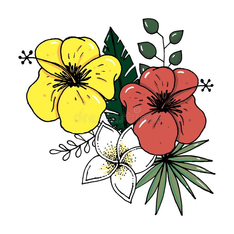 Sistema realista del ejemplo del vector de hojas tropicales y de flores aisladas en el fondo blanco Planta colorida altamente det ilustración del vector