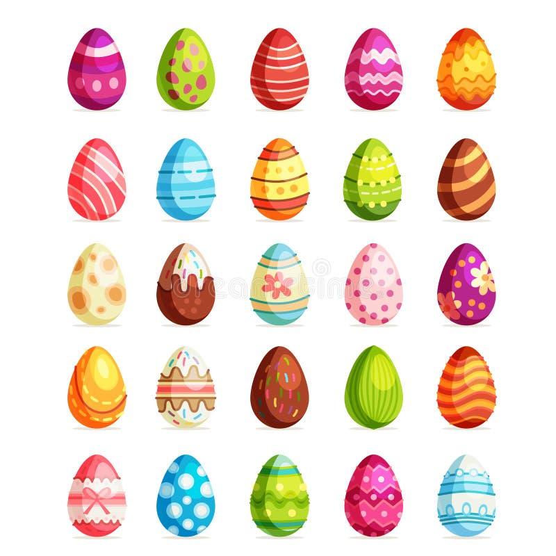 Sistema realista del huevo de Pascua Caza domingo del huevo stock de ilustración