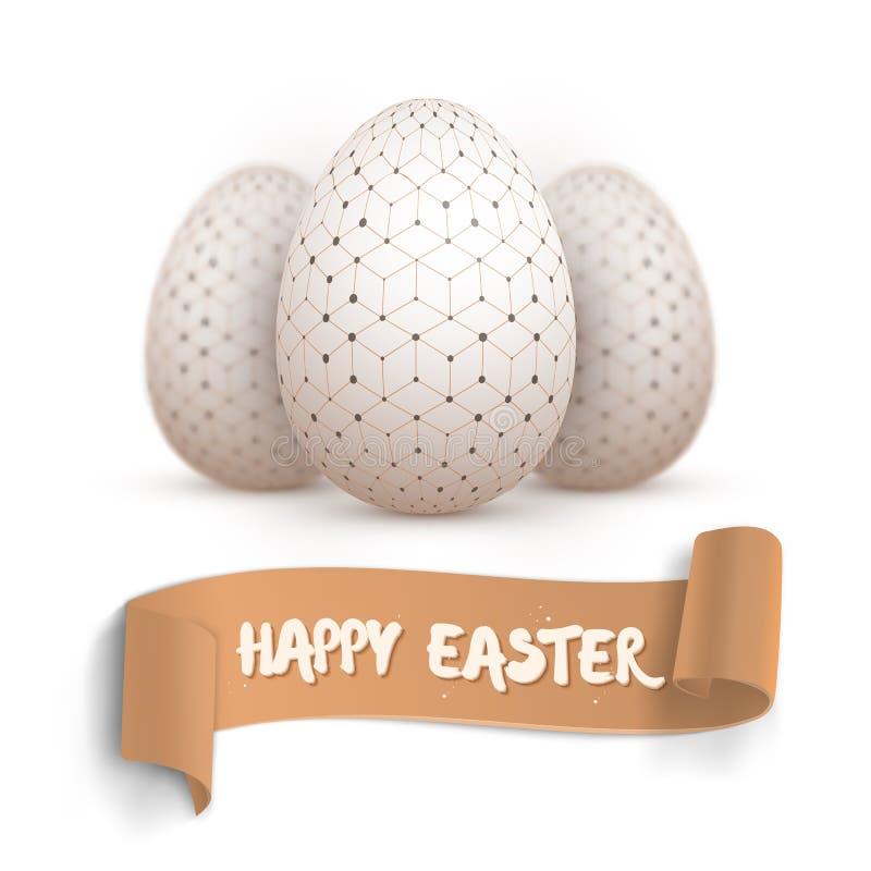 Sistema realista del huevo de Pascua del vector Huevo pintado Pascua feliz del vector ilustración del vector