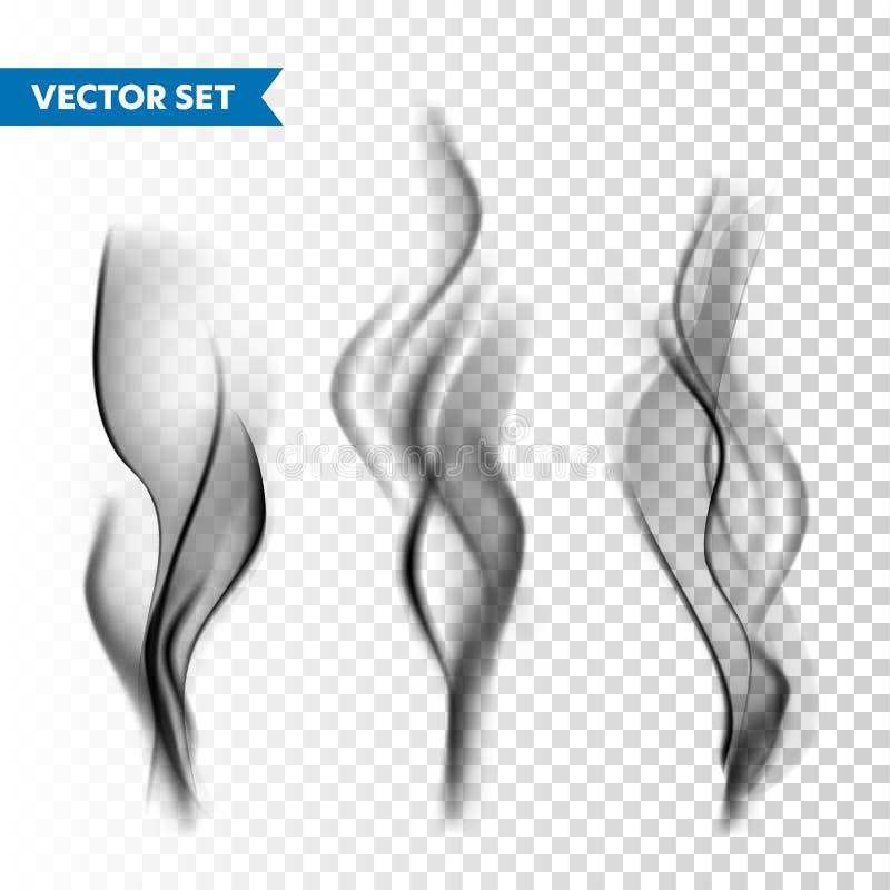 Sistema realista del humo del cigarrillo aislado en fondo transparente Vapor del vector en el aire, flujo del vapor Niebla, efect ilustración del vector