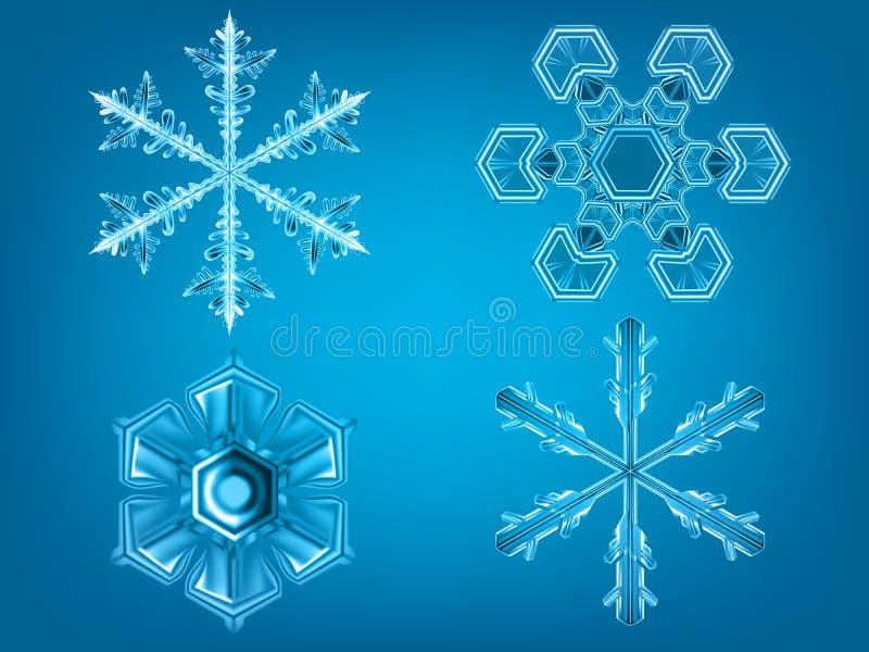 Sistema realista del invierno de los copos de nieve ilustración del vector