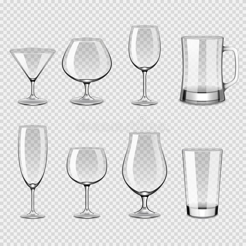 Sistema realista del vector de la bebida de los vidrios de la foto transparente de los iconos stock de ilustración
