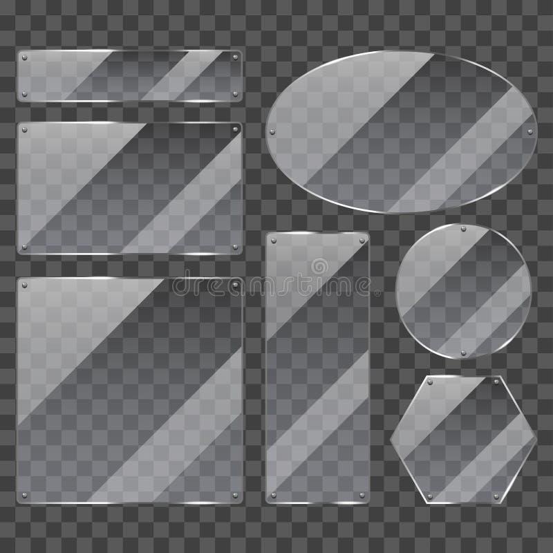 Sistema realista del vector de la foto de cristal transparente de los marcos libre illustration