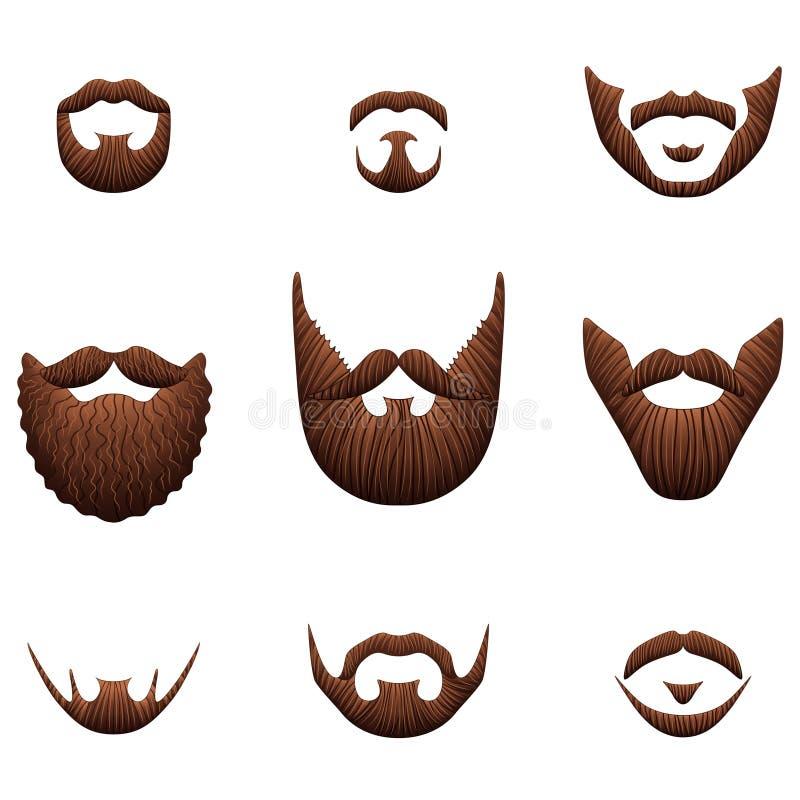 Sistema realista del vector de la foto de los iconos de las barbas del inconformista libre illustration