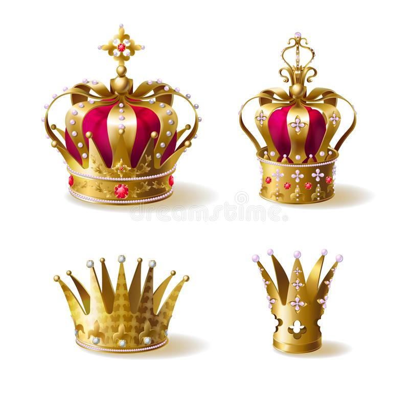 Sistema realista del vector de las coronas de oro de la familia real ilustración del vector