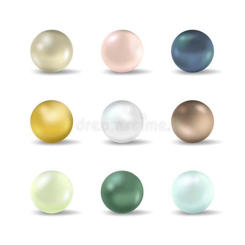 Sistema realista detallado realista de la perla 3d Vector libre illustration