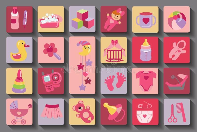 Sistema recién nacido del bebé Iconos planos con la sombra larga libre illustration