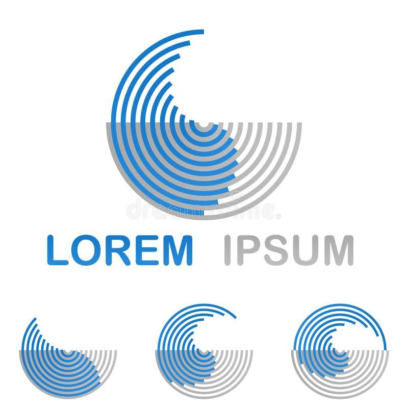 Sistema redondo azul del diseño del logotipo de la tecnología del agua stock de ilustración