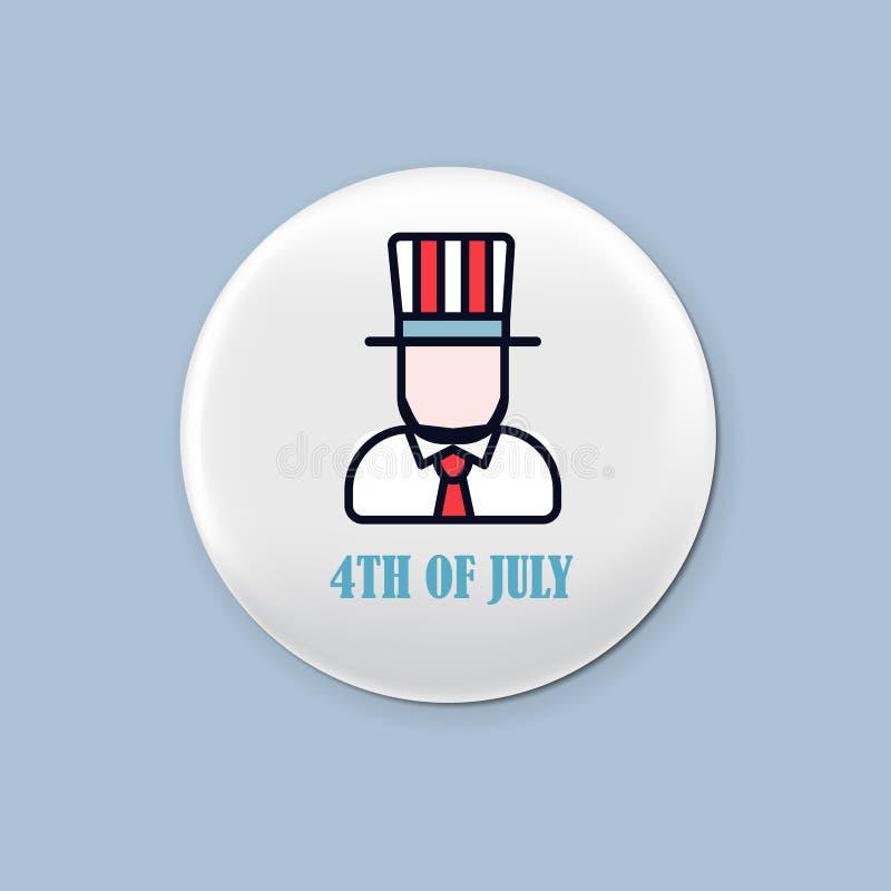 Sistema redondo de acero de la insignia Broche patriótica el 4 de julio Día de la Independencia de América Maqueta realista libre illustration
