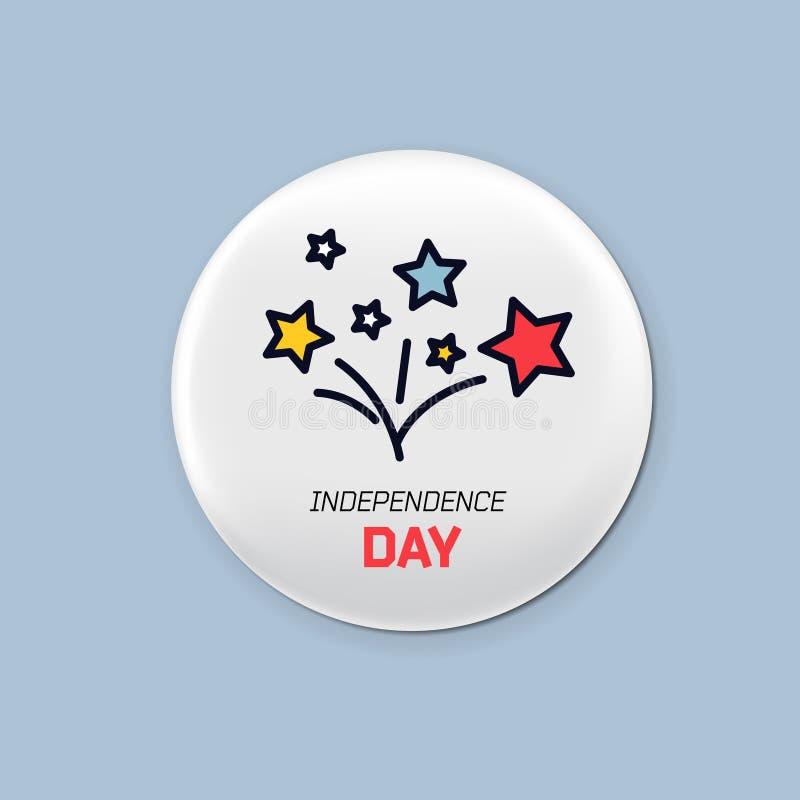 Sistema redondo de acero de la insignia Broche patriótica el 4 de julio Día de la Independencia de América Maqueta realista ilustración del vector