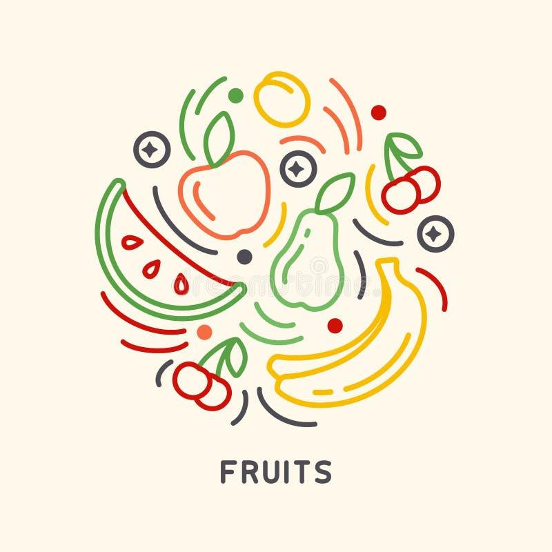 Sistema redondo de la forma de iconos de las frutas en estilo linear libre illustration