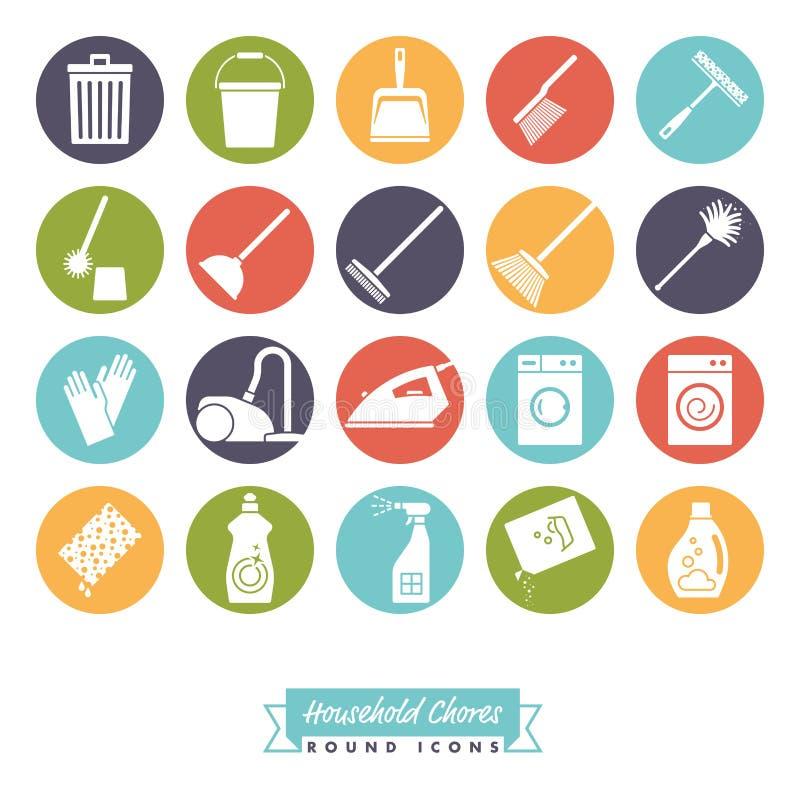 Sistema redondo del icono del color de las tareas de hogar stock de ilustración