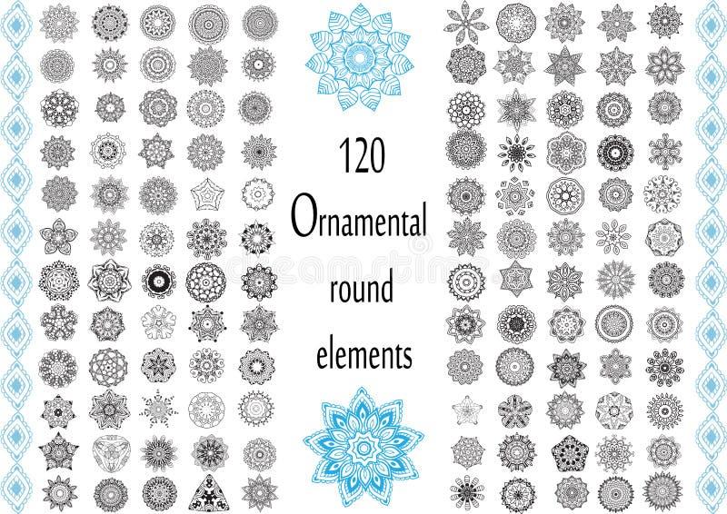 Sistema redondo del ornamento con la mandala libre illustration