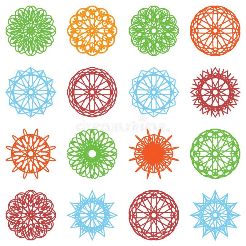 Sistema redondo del ornamento del color libre illustration