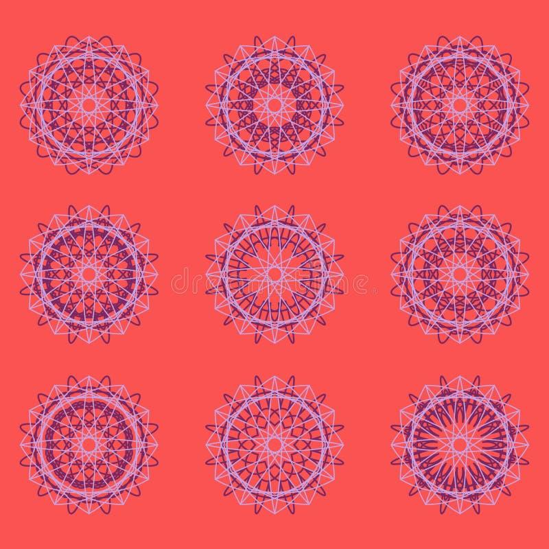 Sistema redondo del ornamento del color ilustración del vector
