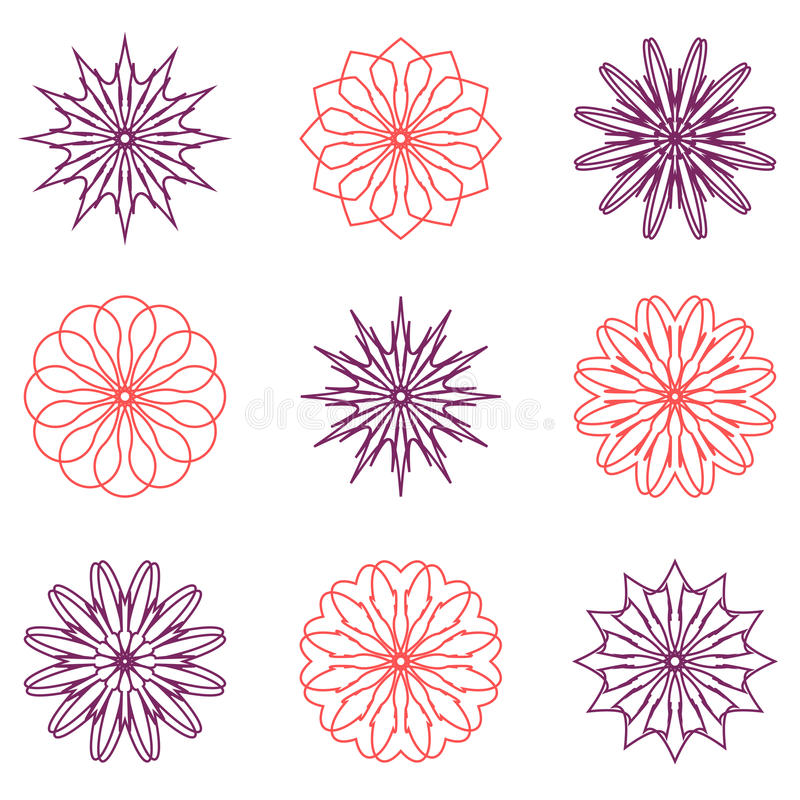 Sistema redondo del ornamento del color stock de ilustración