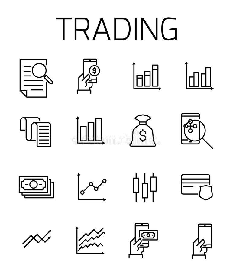 Sistema relacionado comercial del icono del vector stock de ilustración