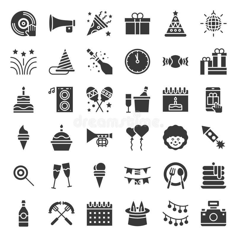 Sistema relacionado de la fiesta de cumpleaños, del icono del partido, glyph o diseño sólido en el fondo blanco stock de ilustración