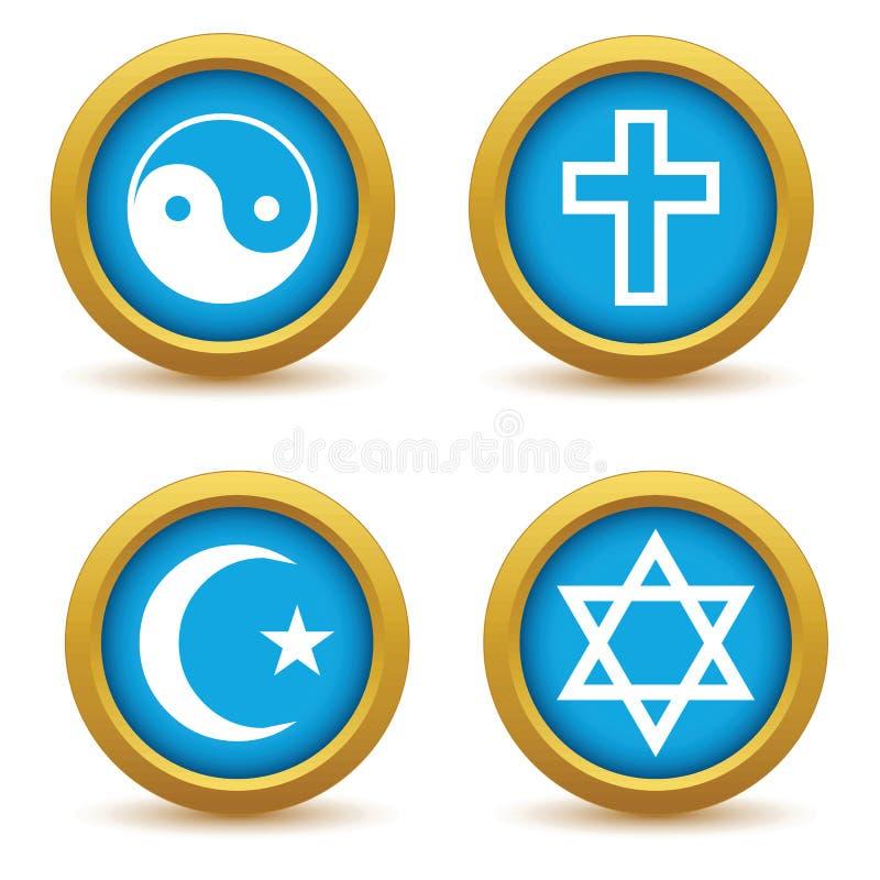 Sistema religioso del icono de los símbolos ilustración del vector