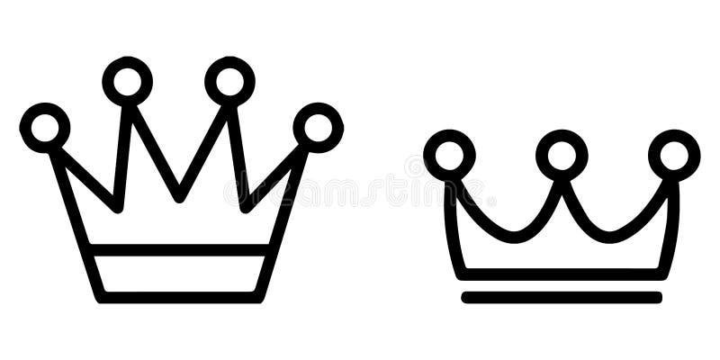 Sistema resumido del icono: Coronas reales del rey o de la reina stock de ilustración