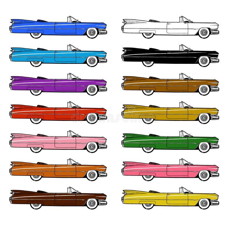 Sistema retro clásico del coche aislado en el fondo blanco libre illustration