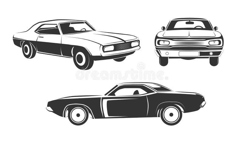 Sistema retro clásico del vector de los coches del músculo libre illustration