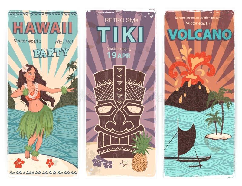 Sistema retro de banderas con símbolos hawaianos ilustración del vector