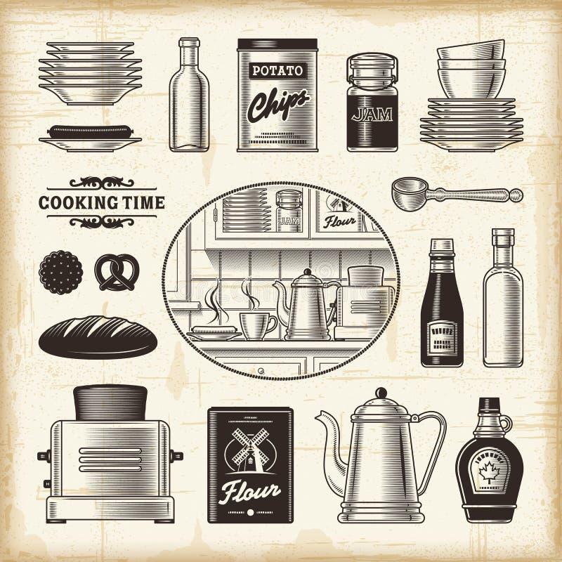 Sistema retro de la cocina stock de ilustración