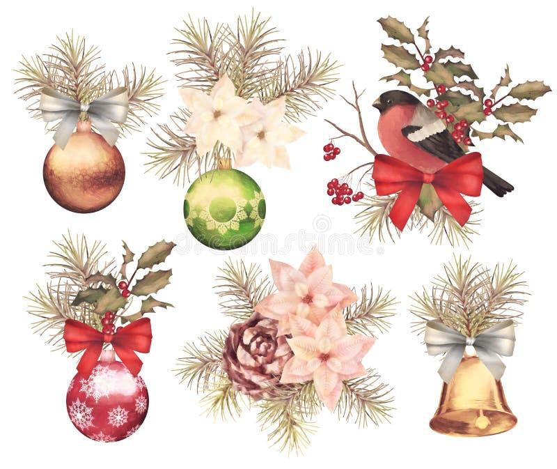 Sistema retro de la composición de la acuarela de la Navidad stock de ilustración