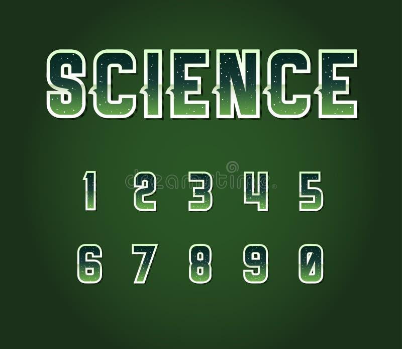 Sistema retro de la fuente de la ciencia ficción de los años 80 verdes con las letras interiores de las estrellas Alph libre illustration