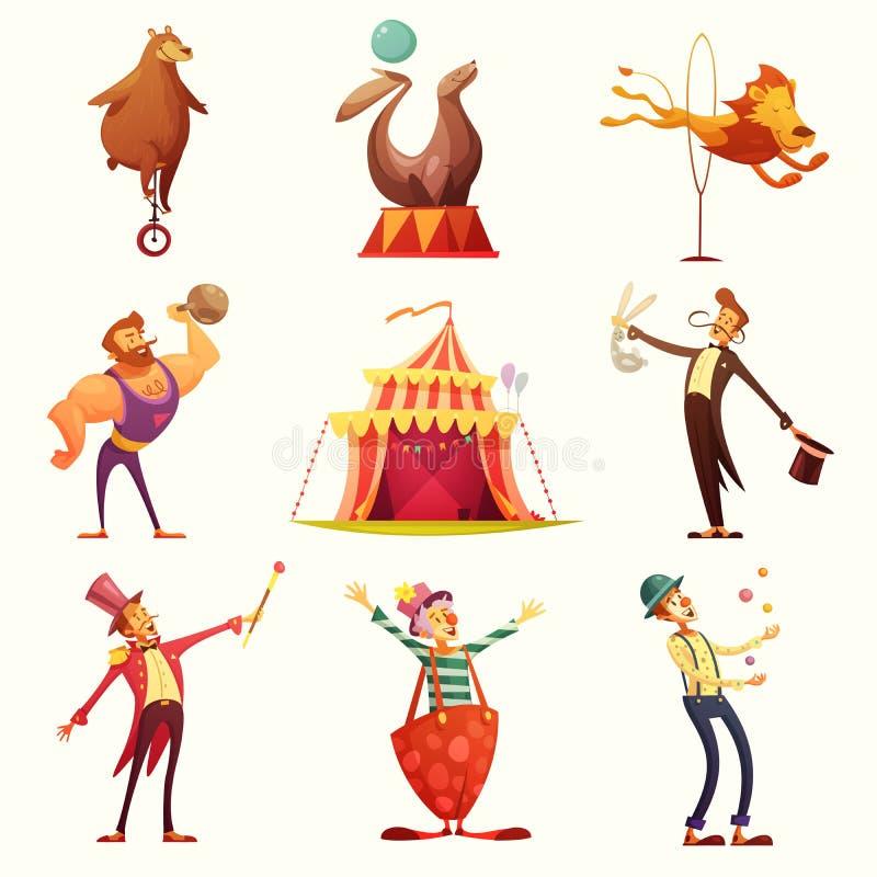 Sistema retro de la historieta de los iconos del circo stock de ilustración