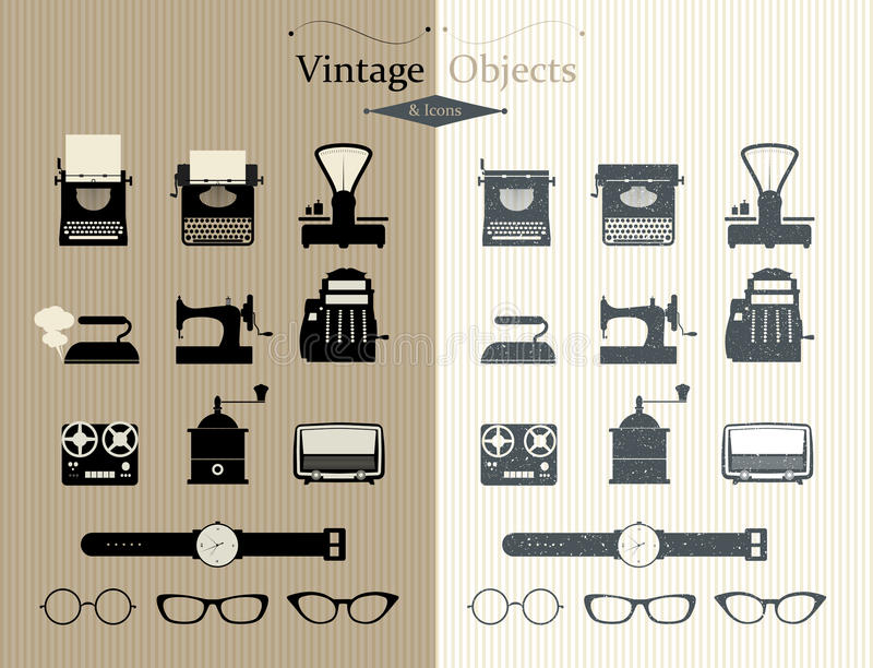 Sistema retro de los iconos stock de ilustración