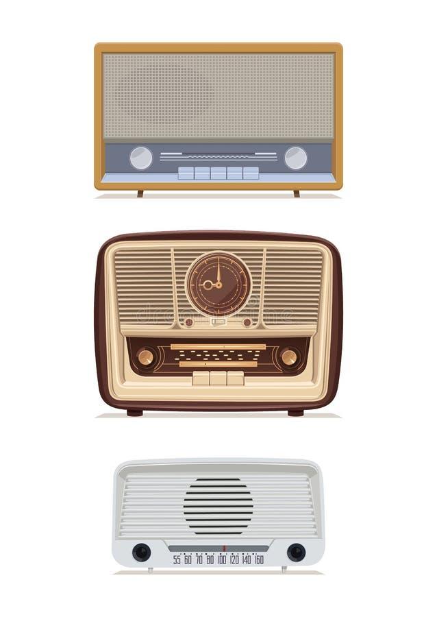 Sistema retro de radio Radio vieja Ejemplo de un receptor de radio viejo del siglo pasado stock de ilustración