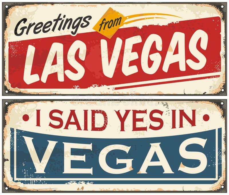 Sistema retro del diseño de la muestra de la lata de Las Vegas stock de ilustración