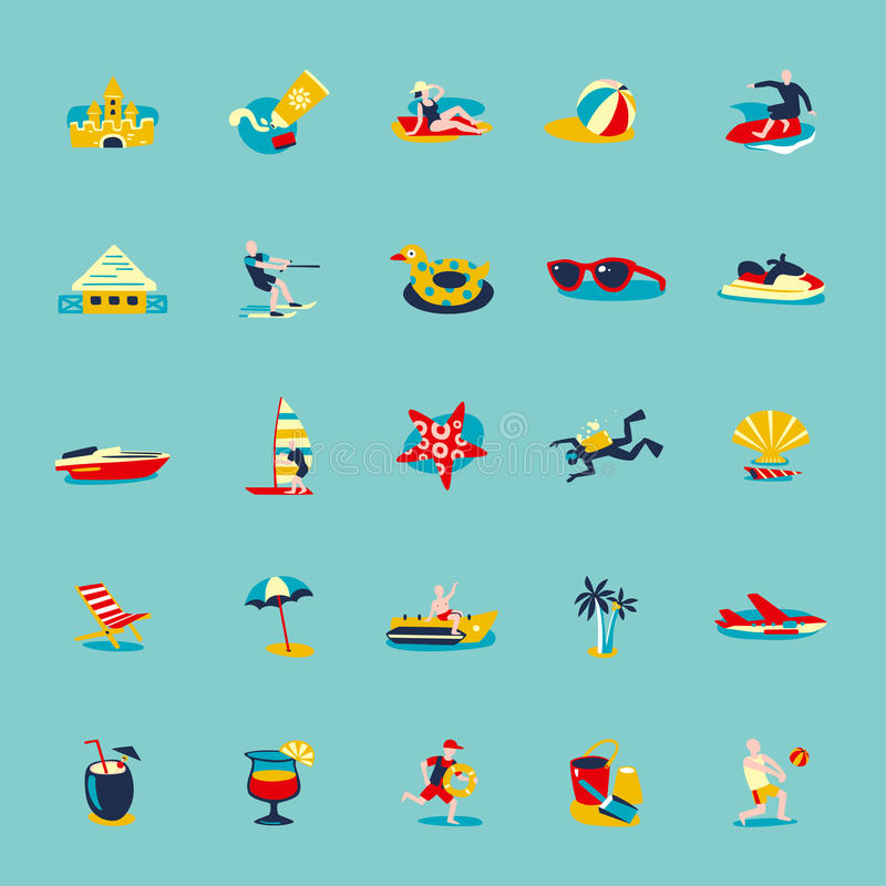 Sistema retro del fondo de los iconos de la playa del verano stock de ilustración