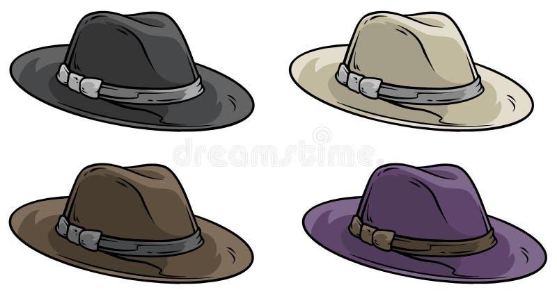 Sistema retro del icono del vector del sombrero de la vieja mafia de la historieta ilustración del vector