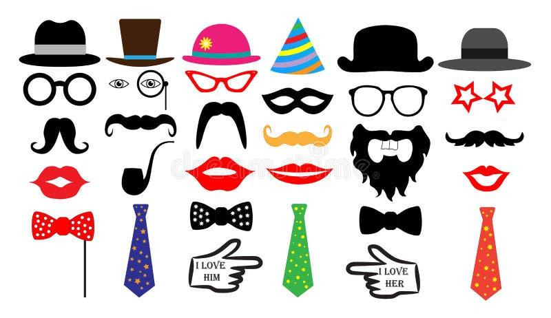 Sistema retro del partido Monóculo del lazo de los bigotes de los labios de los sombreros de los vidrios Vector aislado ilustración del vector