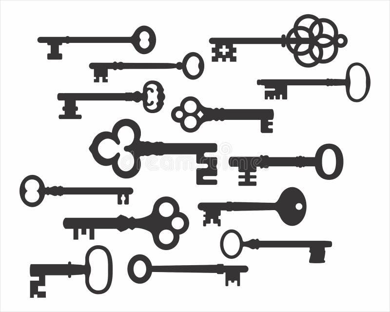 Sistema retro del vector de las siluetas de la llave ilustración del vector