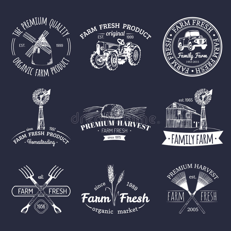 Sistema retro del vector de logotipos frescos de la granja Insignias orgánicas de los productos Muestras de la comida de Eco Icon libre illustration