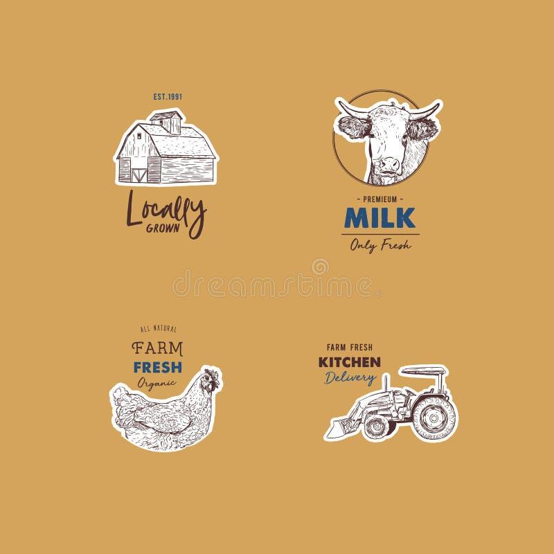 Sistema retro del vector de logotipos frescos de la granja ilustración del vector