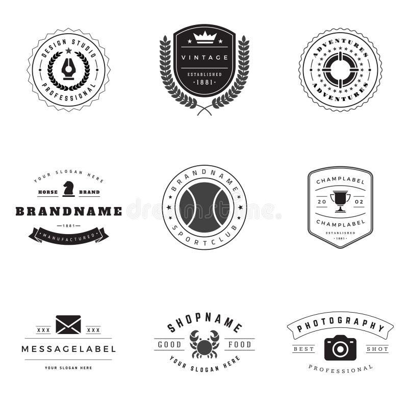 Sistema retro del vector de los logotipos stock de ilustración