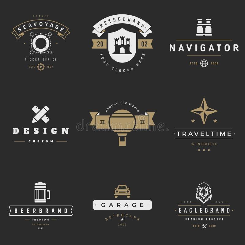 Sistema retro del vector de los logotipos Gráficos del vintage ilustración del vector