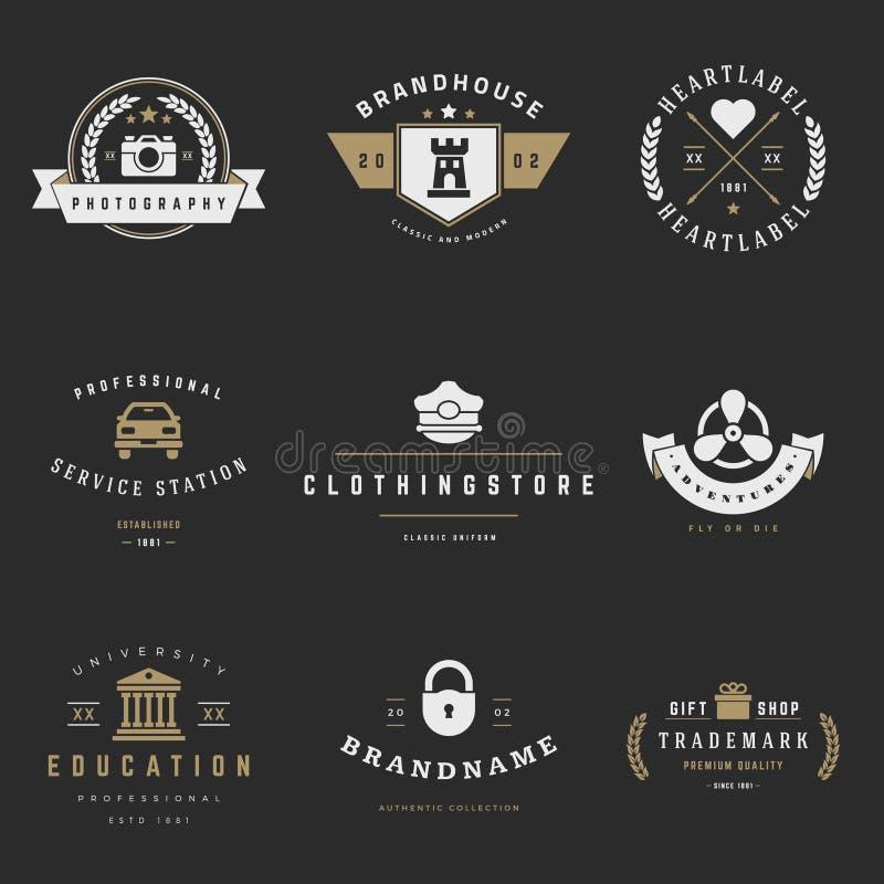 Sistema retro del vector de los logotipos Gráficos del vintage libre illustration