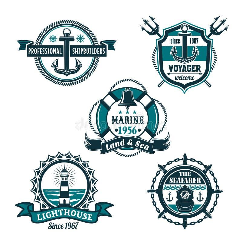 Sistema retro náutico de la insignia, diseño marino de la heráldica libre illustration
