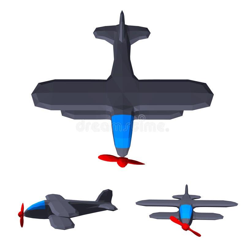 Sistema retro poligonal del avión Aislado en el fondo blanco Vector ilustración del vector