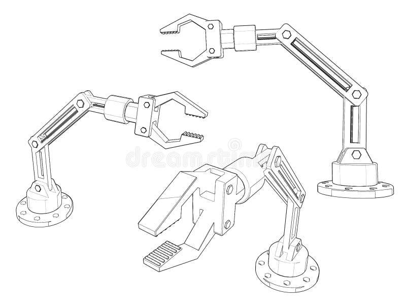 Sistema robótico del brazo Aislado en el fondo blanco Ejemplo del bosquejo libre illustration