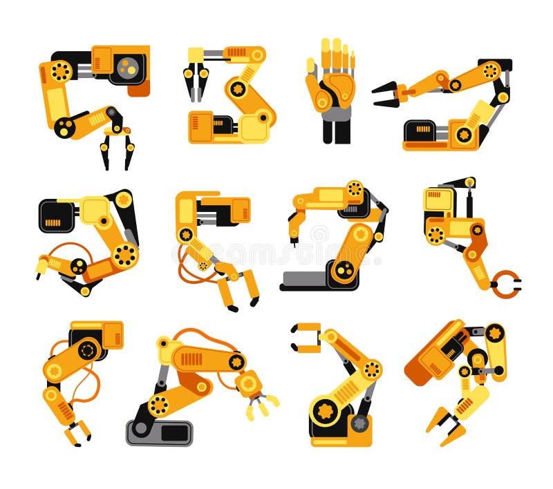 Sistema robótico industrial del vector del equipo de la asamblea de la tecnología de la fabricación de los brazos stock de ilustración